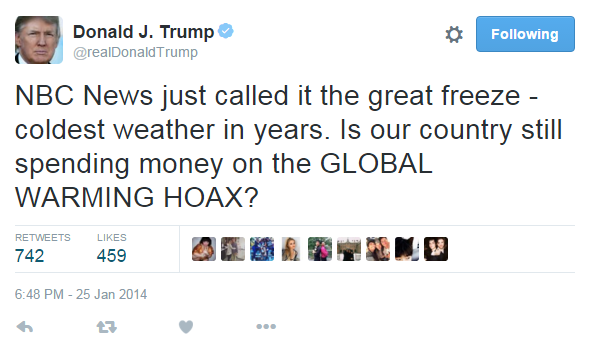 TRUMP CALLS GLOBAL WARMING A HOAX